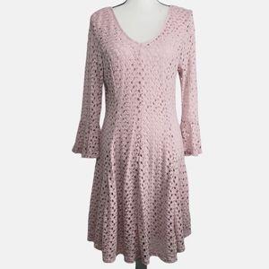 Pink cotton lace overlay dress full Petite XL